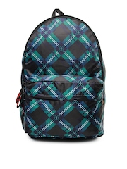 Red Chilli Unisex Black & Blue Printed Funk Plaid Backpack