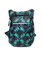Red Chilli Unisex Black & Blue Printed Deck Plaid Backpack