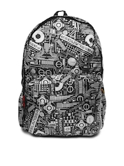 Red Chilli Unisex Black & Grey Printed Funk Circuit Backpack
