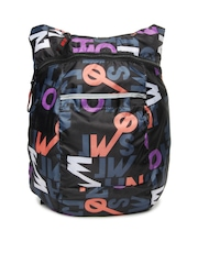 Red Chilli Unisex Black Printed Deck Typo Backpack