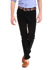 Red Flame Men Black Lean Fit Corduroy Trousers