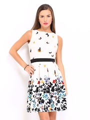 Red Herring by Debenhams Off-White Butterfly Print Fit & Flare Dress
