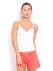 Red Rose Touch White Camisole