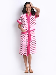 Red Rose Women White & Pink Polka Dot Print Bath Robe