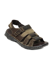 Red Tape Men Dark Brown Leather Sandals