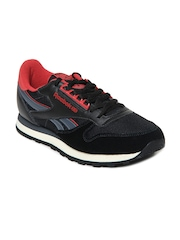 Reebok Classic Men Black & Red CL Leather Retro Casual Shoes