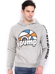 Reebok Classic Men Grey Melange Pump Hooded Sweatshirt
