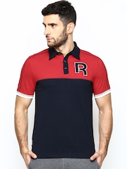 Reebok Classic Men Navy & Red College Polo T-shirt