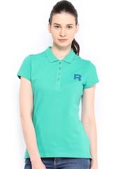 Reebok Classic Women Green Polo T-shirt