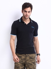 Reebok Men Black Pique Polo T-shirt