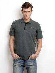 Reebok Men Grey Melange Pique Polo T-shirt