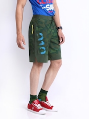 Reebok Men Olive Green Printed Shorts