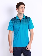 Reebok Men Blue Printed Polo T-shirt