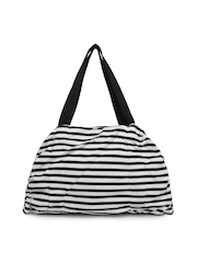 Reebok Women Black & White Striped Duffle Bag