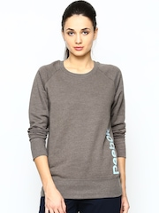 Reebok Women Light Brown SEL Melange CRW Sweatshirt