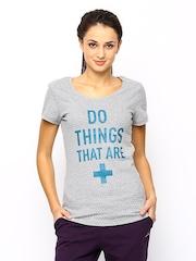Reebok Women Grey Melange Printed T-shirt YOGA TEE