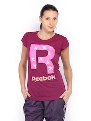 Reebok Women Magenta Printed T-shirt