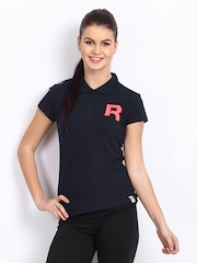 Reebok Women Navy Polo T-shirt