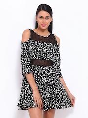 Remanika Black Printed Fit & Flare Dress