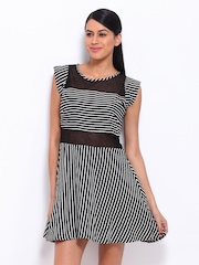 Remanika Black & Off-White Striped Fit & Flare Dress