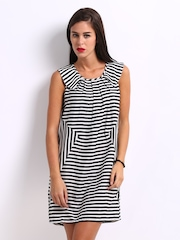 Remanika Black & White Striped Shift Dress