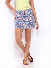 Remanika Blue Floral Print A-Line Mini Skirt
