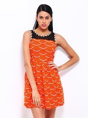 Remanika Orange Fit & Flare Dress