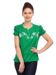Remanika Women Green Embroidered Top
