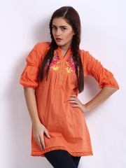 Remanika Women Orange Coloured Embroidered Tunic