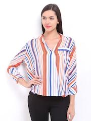Remanika Women White & Orange Striped Top