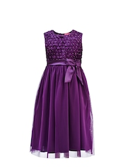 Renee Girls Purple Fit & Flare Dress