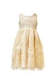 Renee Girls Cream-Coloured Embroidered Fit & Flare Dress