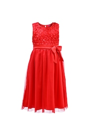 Renee Girls Red Fit & Flare Dress