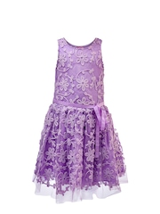 Renee Girls Lavender Embroidered Fit & Flare Dress
