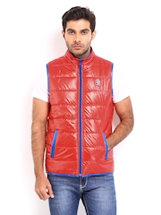 Republic of Speil Men Red Padded Sleeveless Jacket
