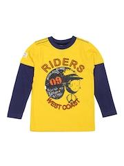 Republic of Spiel Boys Yellow Printed T-shirt