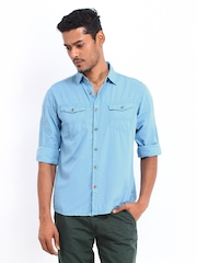 Republic of Spiel Men Blue Slim Fit Casual Shirt