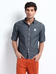 Republic of Spiel Men Blue Slim Casual Shirt