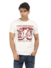 Republic of Spiel Men White Guitar Rangers T-shirt
