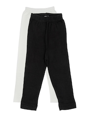 Rham Gold Girls 2 Pcs Black Off-White Cotton Stretch Leggings