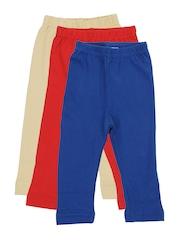 Rham Infants 3 Pcs Red Beige Blue Cotton Stretch Leggings