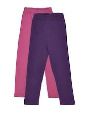 Rham Gold Girls 2 Pcs Pink Purple Cotton Stretch Leggings