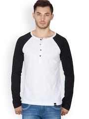 Rigo Men White Henley T-Shirt