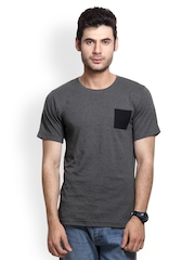 Rigo Men Charcoal Grey T-shirt
