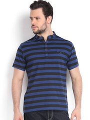 Men Black & Blue Striped Henley T-shirt Riot