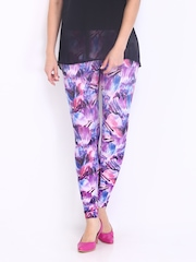 Riot Women Purple Printed Ankle Length Leggings