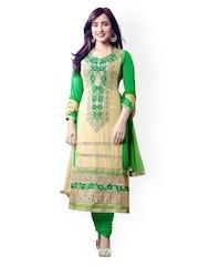 Riti Riwaz Beige & Green Georgette Unstitched Dress Material