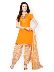 Riti Riwaz Yellow & Off-White Cotton Unstitched Dress Material
