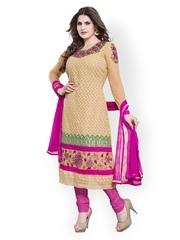 Riti Riwaz Beige & Pink Georgette Unstitched Dress Material