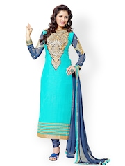 Riti Riwaz Blue Embroidered Georgette Unstitched Dress Material